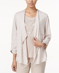 Alfred Dunner Acadia Collection Striped Layered Look Top Fawn