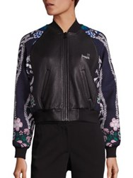 Yigal Azrouel Leather And Jacquard Bomber Jacket Midnight