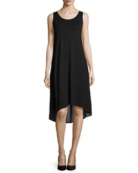 Joan Vass Sleeveless High Low Combo Dress Black