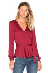L'academie The Long Sleeve Wrap Blouse Burgundy