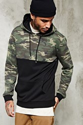 Forever 21 Camo Print Paneled Hoodie Black Olive