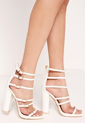 Missguided Block Heel Buckled Sandal White Beige