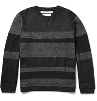 White Mountaineering Panelled Knitted Sweater Gray
