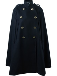 Sacai Luck Military Style Cape Coat Blue