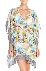 Tommy Bahama Women's Floral Print Cover Up Tunic White Ground Multi