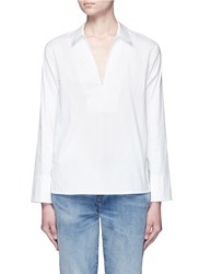 Vince Split Neck Poplin Shirt White