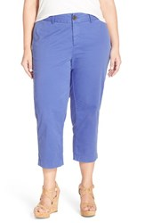 Plus Size Women's Sejour 'Addison' Stretch Crop Pants Blue Amparo