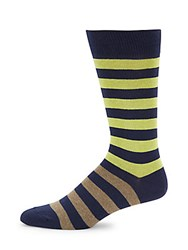 Saks Fifth Avenue Striped Cotton Blend Socks Lime