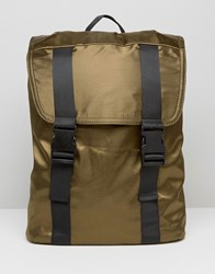 Missguided Satin Buckle Strap Backpack Olive Green