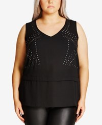 City Chic Trendy Plus Size Studded Top Black