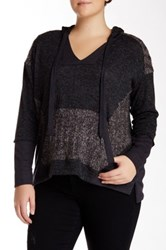 Democracy Hooded Novelty Sweater Plus Size Gray