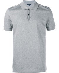 Lanvin Slim Fit Polo Shirt With Lurex Ribbon Trim Grey Silver Black White
