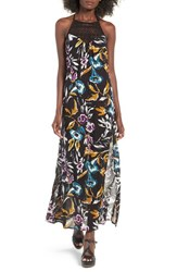 Band Of Gypsies Women's Crochet Inset Floral Print Maxi Dress