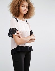 Warehouse Lace Insert Tee Nude And Black Multi