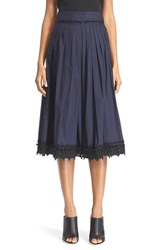 Women's Derek Lam 10 Crosby Lace Trim Pleated Midi Skirt