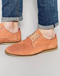 Asos Desert Shoes In Coral Suede Peach Orange