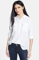 Women's Equipment 'Slim Signature' Silk Shirt Bright White