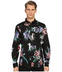 Just Cavalli Tropical Ikat Print Long Sleeve Woven Black