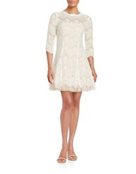 Betsy And Adam Lace Topped Fit Flare Dress Ivory Blush