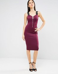 Ax Paris Zip Front Bodycon Midi Dress Wth Strap Detail Plum Purple