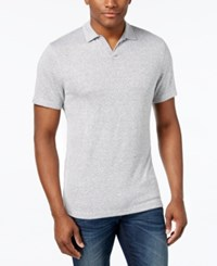 Alfani Men's Heather Open Collar Polo Only At Macy's Smooth Silver