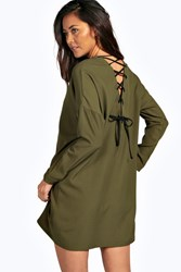 Boohoo Lace Up Shirt Dress Khaki