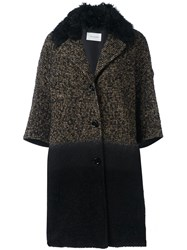 Yves Salomon Three Quarters Sleeve Knit Coat Black