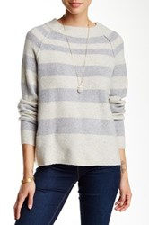 Free People Striped Crew Neck Sweater Gray