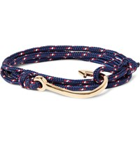 Miansai Cord And Gold Plated Hook Wrap Bracelet Navy