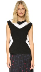 Thakoon Sleeveless Crochet Inset Top Black