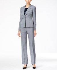 Le Suit Three Piece One Button Striped Pantsuit Stone Midnight