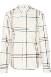 Isabel Marant Thom Plaid Cotton Flannel Shirt Ecru