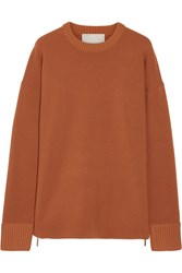 Jason Wu Oversized Zip Detailed Stretch Knit Sweater Orange