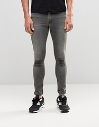 Asos Extreme Super Skinny With Knee Rips In Grey Grey