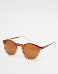 Asos Keyhole Round Sunglasses With Brown To Clear Fade Frame Brown