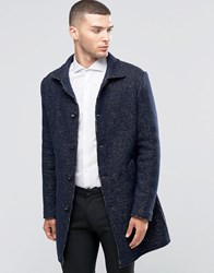 Sisley Overcoat In Contrast Stitch Navy 901