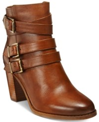 Inc International Concepts Laini Block Heel Booties Only At Macy's Women's Shoes Cognac