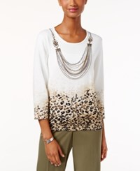 Alfred Dunner Petite Madison Park Printed Necklace Sweater Miscellaneous Group