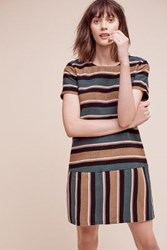 Anthropologie Striped Clea Lace Up Shift Green Motif