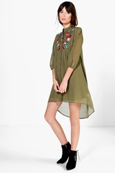 Boohoo Embroidered Shirt Dress Khaki
