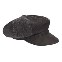 Olney Ellie Tweed Waxed Cotton Bakerboy Rain Hat Black