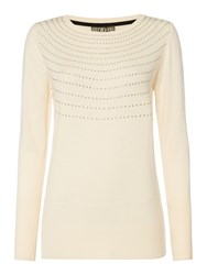 Biba Crew Neck Stud Detail Jumper Cream