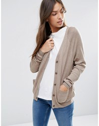 Asos Boyfriend Cardigan In Cashmere Mix Taupe Marl Stone