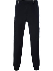 Les Hommes Quilted Panel Tapered Trousers Black
