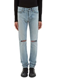 Saint Laurent Slit Knee Skinny Jeans Blue