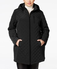 Laundry By Design Plus Size Hooded Quilted Jacket Black
