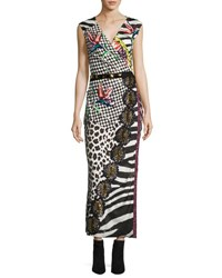 Marc Jacobs Sequined Mixed Print Wrap Dress Black Multi