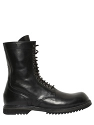 Rick Owens Horse Leather Combat Boots Black