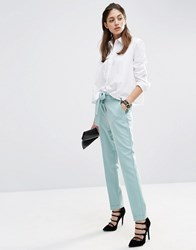 Asos Cigarette Trousers With Tie Waist Mint