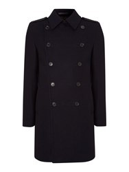 Kenneth Cole Cranford Long Military Coat Navy